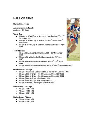 Fillable Online HALL OF FAME - Touch Football Australia Fax Email