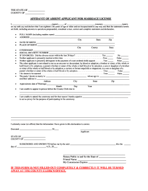 Editable Affidavit of informal marriage tdcj form - Fill