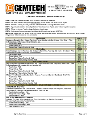 gemtech price list form