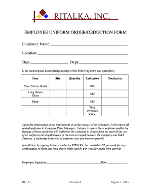 editable employee uniform receipt form online in pdf t shirt order