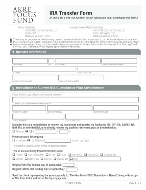 Fillable Online IRA Transfer Form - Akre Focus Fund Fax Email ...