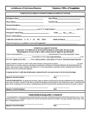 Parental-Guardian Consent Form - Liability Waiver Medial Release Form - Updated Feb 2008 - epiphanycatholic