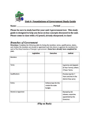 fillable online unit 4 foundations of government study guide rh pdffiller com Study Guide Template Study Guide Clip Art