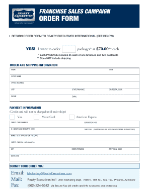 Free Sales Brochure Template. Franchise Sales CaMPaiGn ORDER FORM