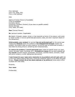 Template Complaint Letter 1 If you need to send a complaint letter to a business this is a good template to follow