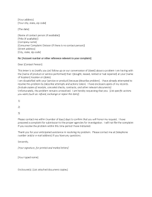 Template Complaint Letter 2 Heres a second template that can be used to voice a grievance with an organization you have done business with