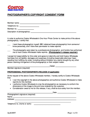 PHOTOGRAPHERS COPYRIGHT CONSENT FORM