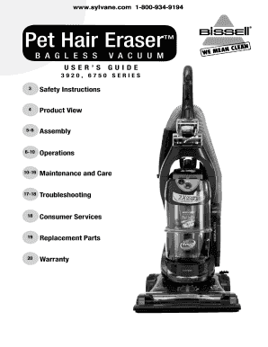 fillable online bissell pet hair eraser vacuum cleaner 87b4 owners rh pdffiller com Old Vacuum Cleaners Bissell PowerForce Bagged