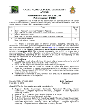 ANAND AGRICULTURAL UNIVERSITY ANAND Recruitment of SRA/RA/SRF/JRF (Advertisement 2/2010) The applications are invited for the appointment on contractual basis of Senior Research Associate (SRA), Research Associate (RA), Senior Research