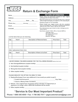 Jegs Return Policy - Fill Online, Printable, Fillable, Blank ...