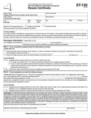 Fillable Online New York Sales Tax Exemption Form - National Grid ...