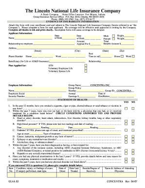 Evidence Of Insurability Form Fort Wayne In Fill Online