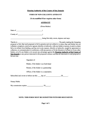 FORM OF NON-COLLUSIVE AFFIDAVIT - Housing Authority of the ...
