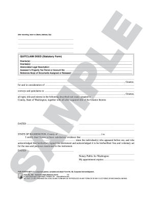 quit claim deed form washington state Templates - Fillable ...
