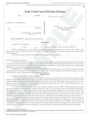 Marriage settlement agreement oregon fillable form