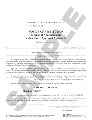 notice of restitution non compliance with a court agreement form