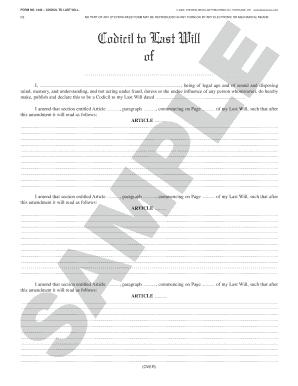 Texas Law Publishing Company Codicil Form - Fill Online, Printable ...