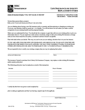 LIFE INSURANCE OR ANNUITY REPLACEMENT FORM