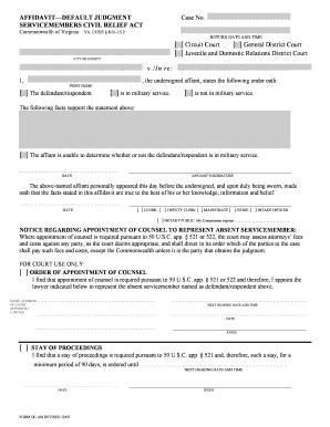 Fillable Online Affidavit - Default Judgment Service Members Civil ...
