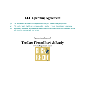 llc operating agreement template pdf
