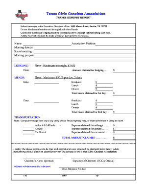 Travel Expense Report Form - Texas Girls Coaches Association