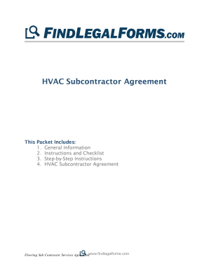 HVAC Subcontractor Agreement - FindLegalForms