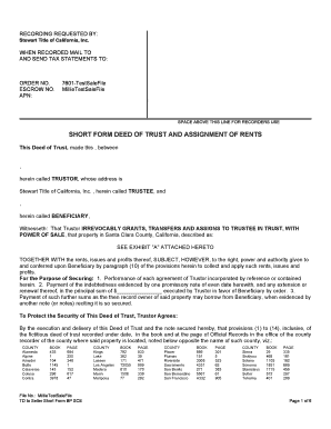 Short Form Deed Of Trust Templates - Fillable & Printable Samples ...