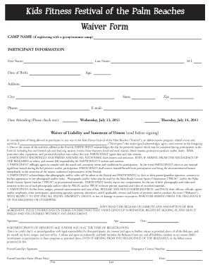 kids fitness disclaimer form fill online printable fillable blank pdffiller. Black Bedroom Furniture Sets. Home Design Ideas