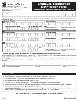 Cal Choice Employee Termination Form