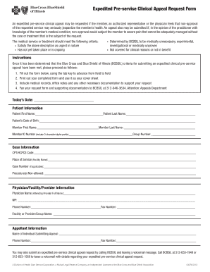 Submit bcbs illinois appeal form and Document Samples