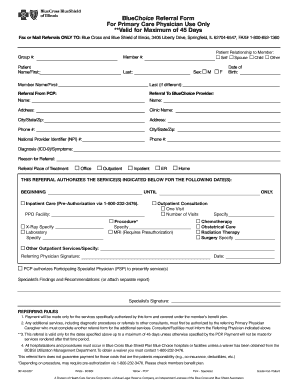 Fillable Online BlueChoice Referral Form For Primary Care ...