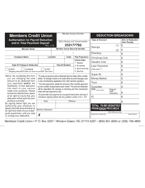 Payroll Deduction Form.indd - Members Credit Union