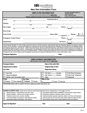 Fillable Online New Hire Information Form - HRnovations Fax Email ...