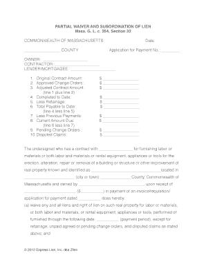 massachusetts waiver lien form fill online printable fillable blank pdffiller