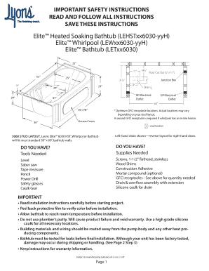 Lyons Elite Heated Soaking Tub Fill Online Printable Fillable Blank Pdffiller
