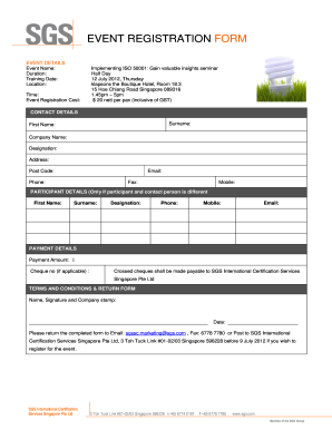 SGS Enrolment Form Template (In Word)  Event Registration Form Template Word