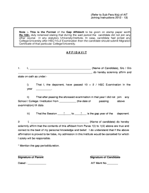 tcs affidavit format for gap - Edit & Fill Out Online