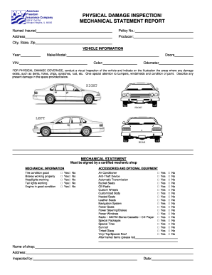 Vehicle Inspection Sheet - Fill Online, Printable, Fillable, Blank ...