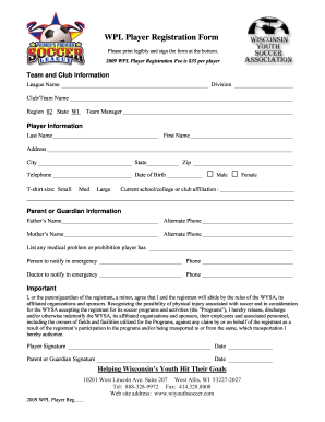 Player Registration Form Template Word Fill Online Printable