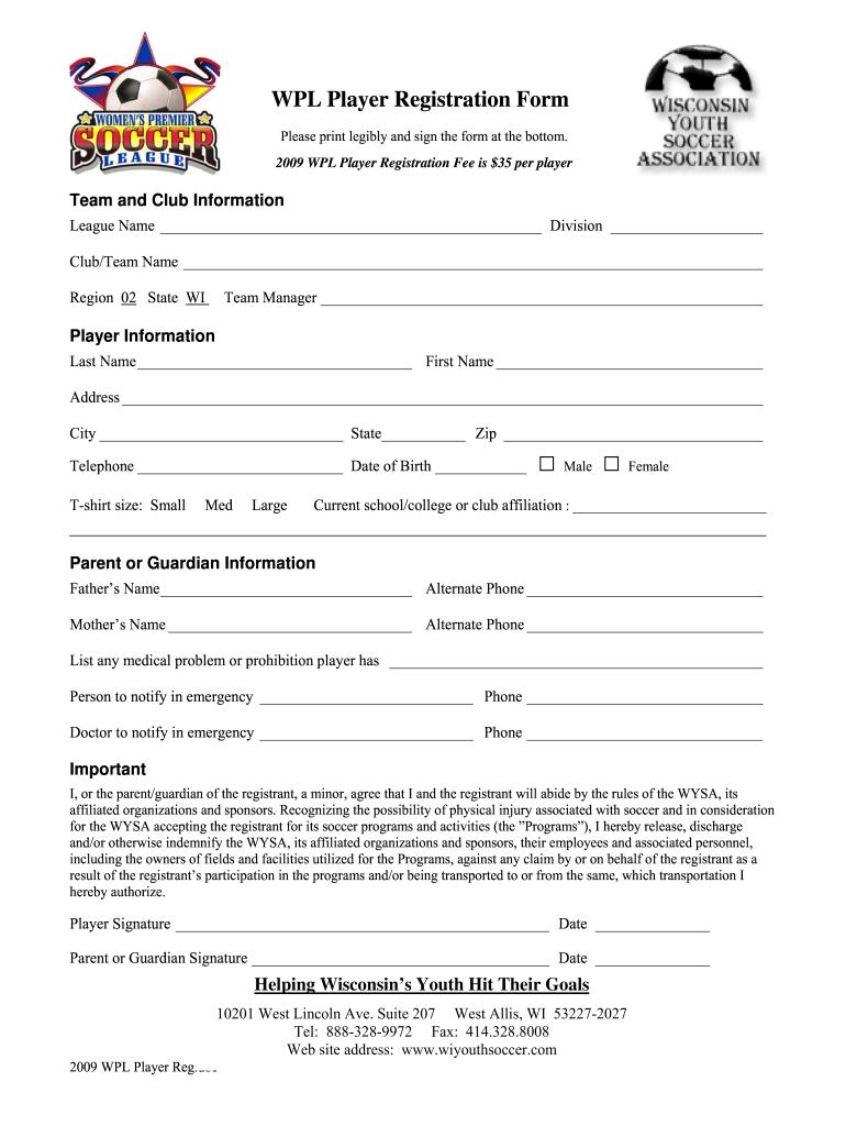 soccer registration form template