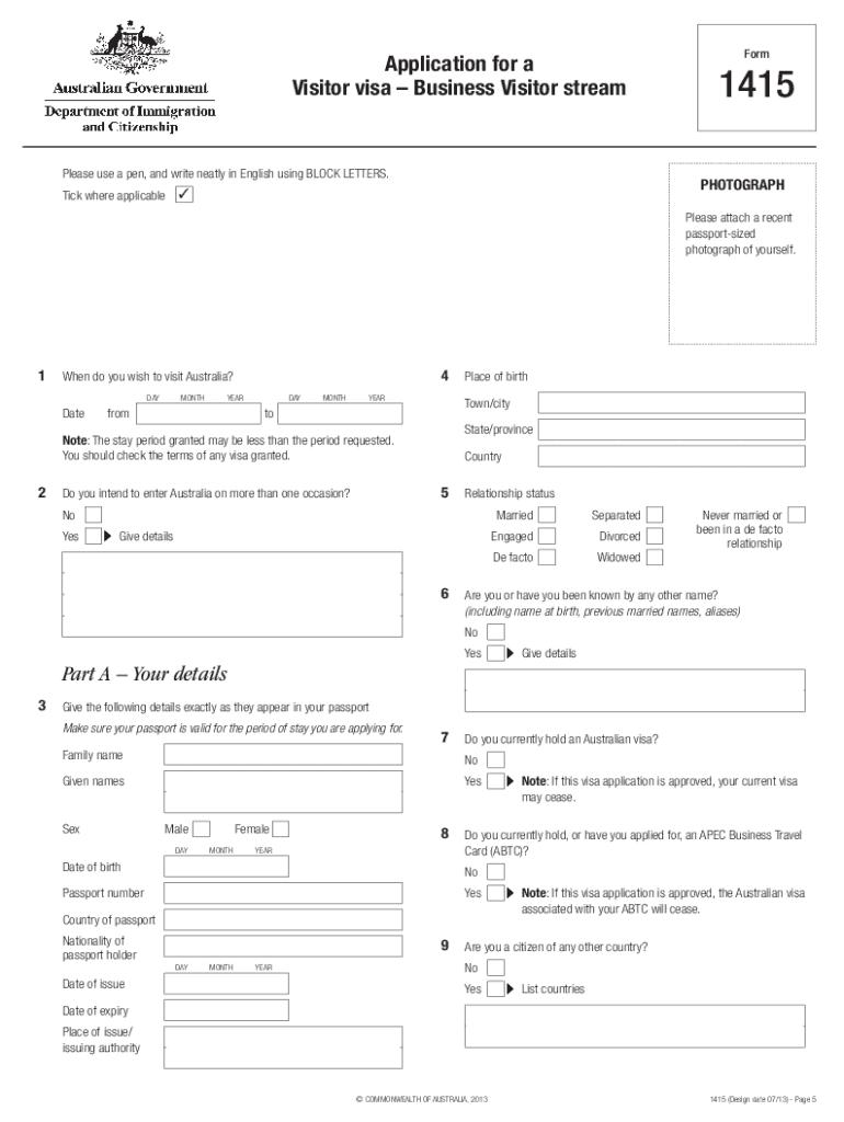 Australian Visa Form 1419 Sample Fill Online Printable Fillable Blank Pdffiller