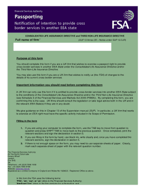 Cross-border passporting form - Better Regulation Ltd