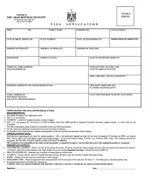 26904160 Visa Application Form For Egypt Emby In Nigeria on