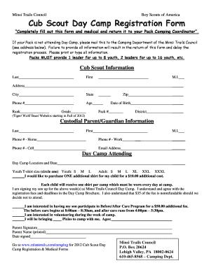 Fillable Online Cub Scout Day Camp Registration Form - Minsi ...