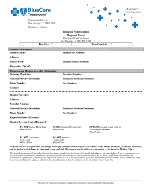 Hospice Notification Request Form - BlueCare Tennessee