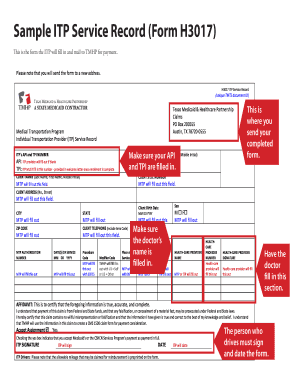 itp service record claim form
