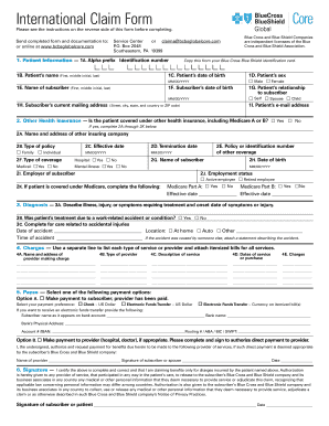 Fillable Online BlueCard Worldwide International Claim Form Fax ...