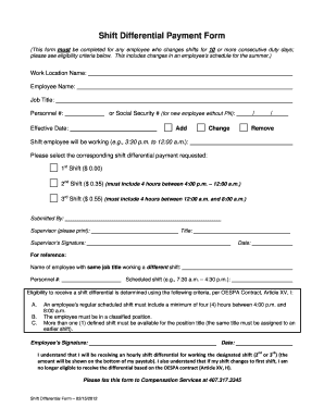 Shift Differential Payment Form - Orange County Public