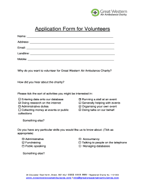 volunteer registration form template
