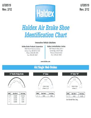 Haldex Air Brake Shoe Fill Online, Printable, Fillable